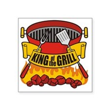 "King of the Grill Square Sticker 3"" x 3"""