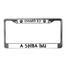 Owned by a Shiba Inu License Plate Frame