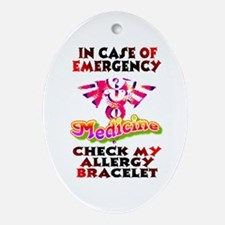 Allergy Warning Oval Ornament