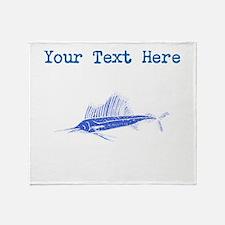 Distressed Blue Sail Fish (Custom) Throw Blanket