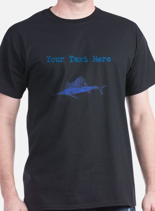 Distressed Blue Sail Fish (Custom) T-Shirt