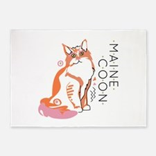 Maine coon cat 5'x7'Area Rug