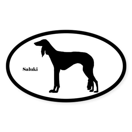 Saluki Silhouette Oval Sticker