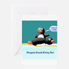 Penguin Drunk Diving Test Greeting Card