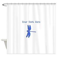 Distressed Blue Dragonfly (Custom) Shower Curtain