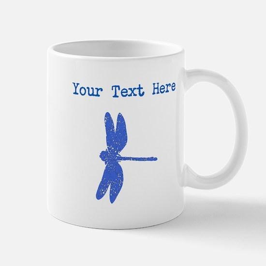 Distressed Blue Dragonfly (Custom) Mugs
