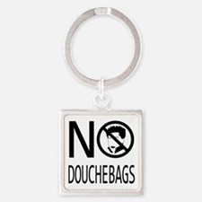 No Douchebags (black) Square Keychain