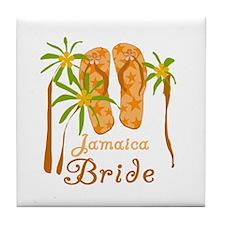 Tropical Jamaica Bride Tile Coaster