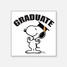 "Snoopy Graduate Square Sticker 3"" x 3"""