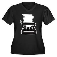 Typewriter Women's Plus Size V-Neck Dark T-Shirt