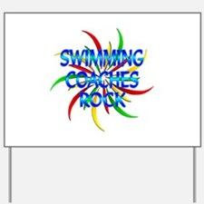 Swimming Coaches Rock Yard Sign