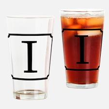 Block Black Monogram Letter I Drinking Glass