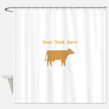 Distressed Brown Cow (Custom) Shower Curtain