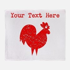 Distressed Red Rooster (Custom) Throw Blanket