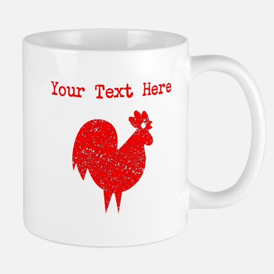 Distressed Red Rooster (Custom) Mugs