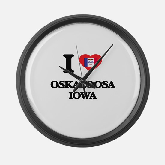 I love Oskaloosa Iowa Large Wall Clock