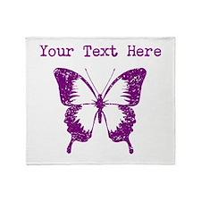 Distressed Purple Butterfly (Custom) Throw Blanket