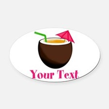 Personalizable Tropical Coconut Drink Oval Car Mag