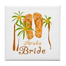 Tropical Aruba Bride Tile Coaster