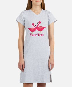 Personalizable Pink Flamingoes Women's Nightshirt