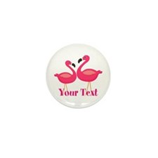Personalizable Pink Flamingoes Mini Button (10 pac