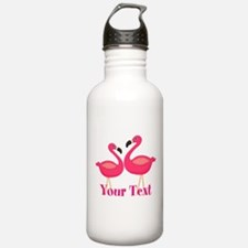 Personalizable Pink Flamingoes Water Bottle