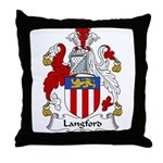 Langford Family Crest Throw Pillow