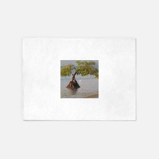 Beach Tree and Shorebird 5'x7'Area Rug