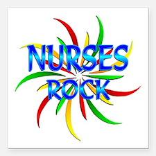 "Nurses Rock Square Car Magnet 3"" x 3"""