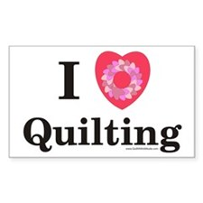 I Love Quilting Rectangle Stickers