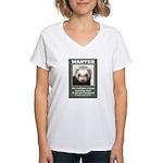 Ferret Wanted Poster Women's V-Neck T-Shirt