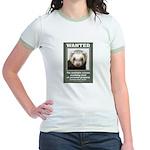 Ferret Wanted Poster Jr. Ringer T-Shirt