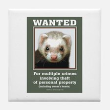 Ferret Wanted Poster Tile Coaster
