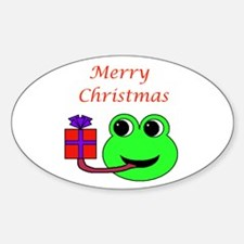 MERRY CHRISTMAS (FROG) Oval Decal