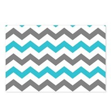 Teal and Gray Chevron Pattern Postcards (Package o