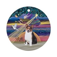 Xmas Star & Tri Welsh Corgi Ornament (Round)