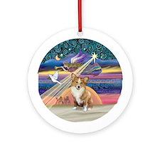 Xmas Star Corgi (Pem 1) Ornament (Round)