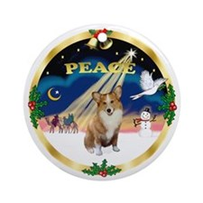 "Gold banded ""Peace"" - Corgi (P1) Ornament (Round)"