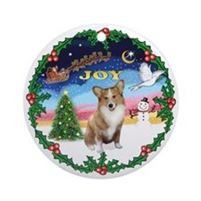 Wreath 1-JOY-Corgi (Pem1) Ornament (Round)