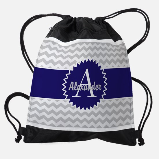 Gray Blue Chevron Drawstring Bag