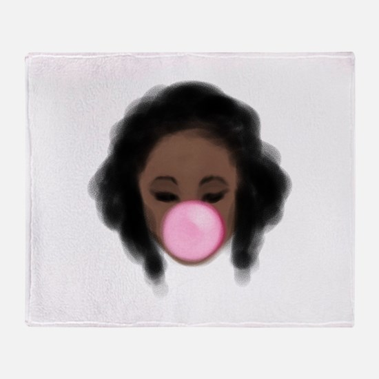 Bubble Gum Girl Throw Blanket