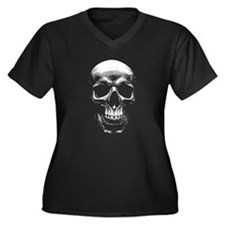 Grinning Skull Women's Plus Size V-Neck Dark T-Shi