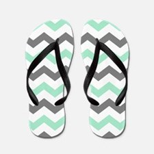 Mint and Gray Chevron Pattern Flip Flops