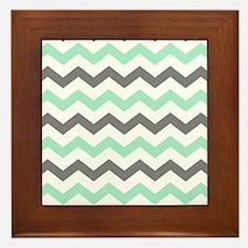Mint and Gray Chevron Pattern Framed Tile