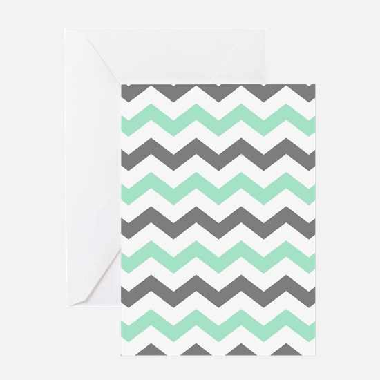 Mint and Gray Chevron Pattern Greeting Cards