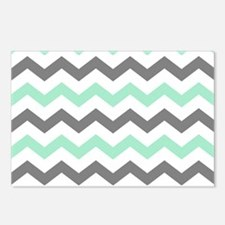 Mint and Gray Chevron Pattern Postcards (Package o