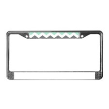 Mint and Gray Chevron Pattern License Plate Frame