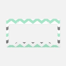 Mint and Gray Chevron Pattern License Plate Holder