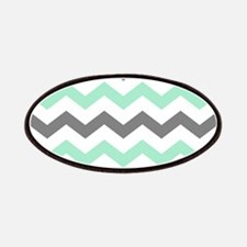 Mint and Gray Chevron Pattern Patch
