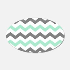 Mint and Gray Chevron Pattern Wall Decal